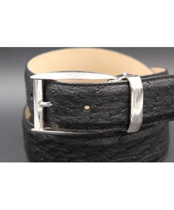 Black ostrich skin belt width 35 - nickel buckle - buckle detail