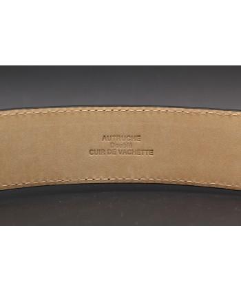 Black ostrich skin belt width 35 - back detail