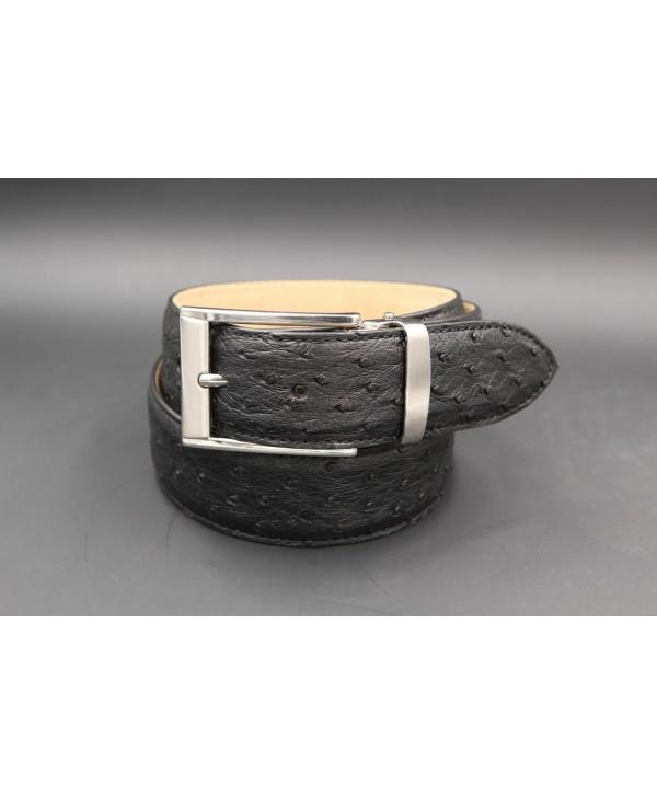 Black ostrich skin belt width 35