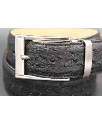 Ceinture en peau d'autruche noire largeur 35 - détail boucle