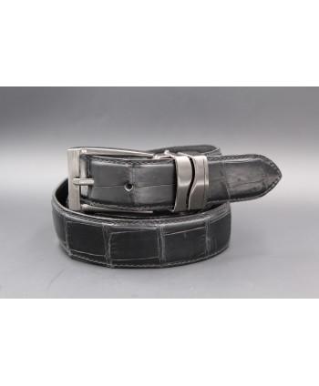 Matte black alligator skin belt width 30