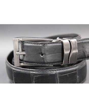 Matte black alligator skin belt width 30 - buckle detail