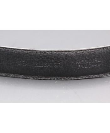 Matte black alligator skin belt width 30 - back detail