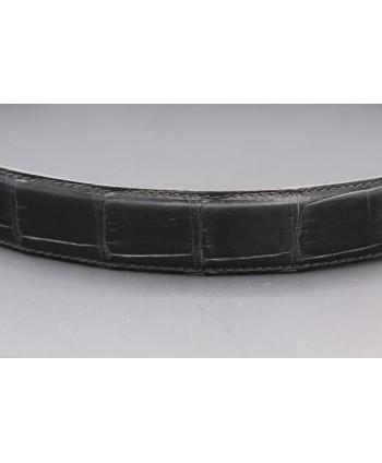 Matte black alligator skin belt width 30 - skin detail