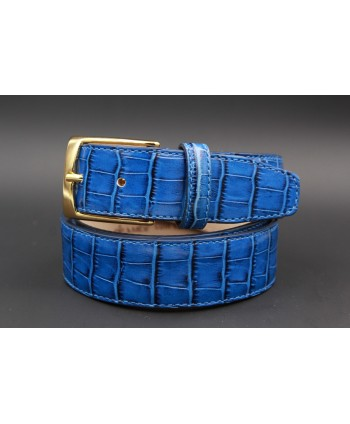 Blue crocodile-style cowhide leather belt - golden buckle