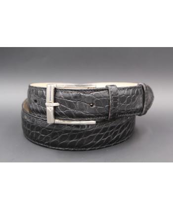 Ceinture en peau d'alligator noire largeur 30