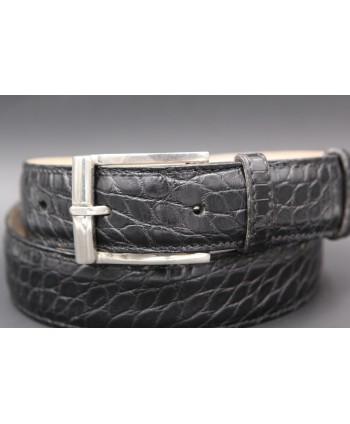 Ceinture en peau d'alligator noire largeur 30 - détail boucle