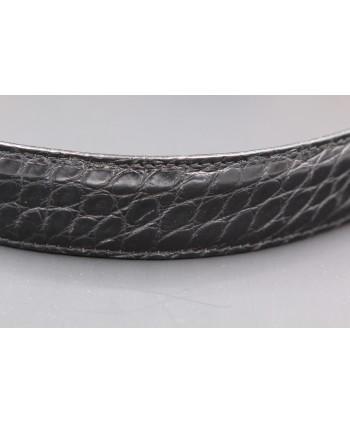 Black alligator skin belt width 30 - skin detail