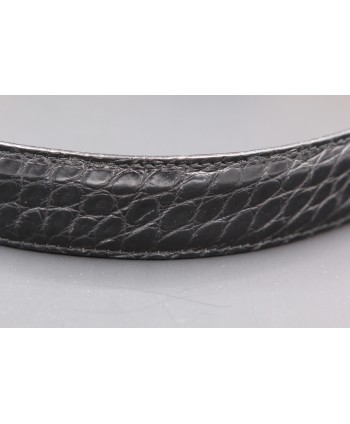Ceinture en peau d'alligator noire largeur 30 - détail peau