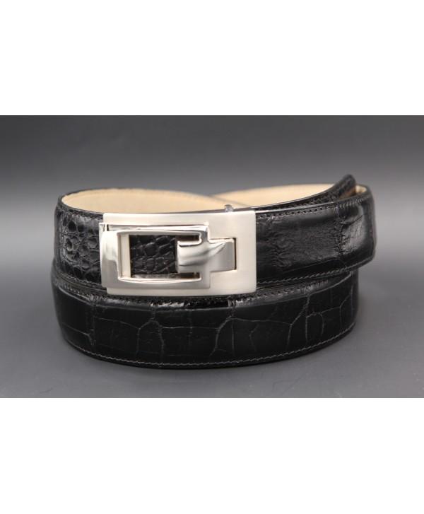 Black alligator skin belt