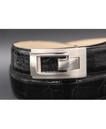 Black alligator skin belt - buckle detail