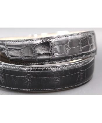 Black alligator skin belt - skin detail