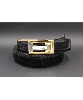 Black alligator skin belt