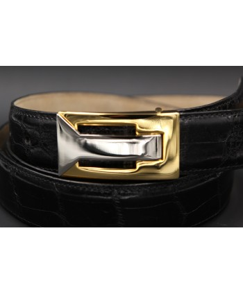 Black alligator skin belt - buckle detail
