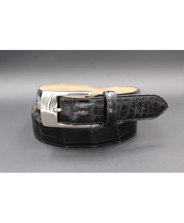 Black alligator skin belt - nickel buckle