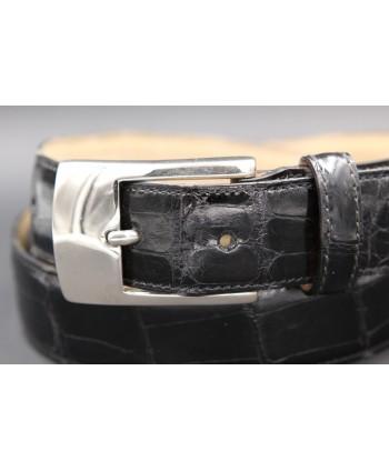 Black alligator skin belt - nickel buckle - buckle detail