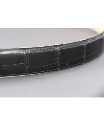 Ceinturon cuir grande taille noir - Boucle ovale aigle nickel