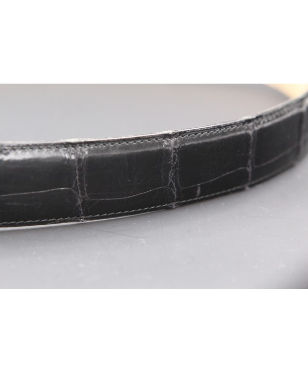 Ceinturon grande taille noir - Boucle ovale aigle nickel