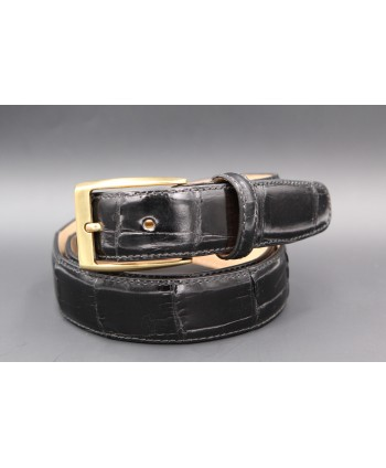 Black alligator skin belt - golden buckle