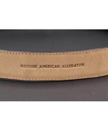 Black alligator skin belt - back detail