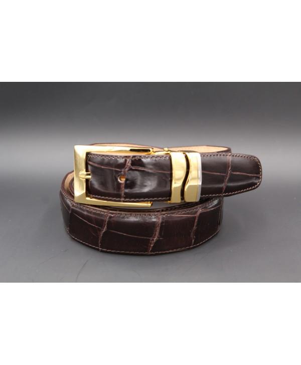 Chocolate alligator skin belt width 30