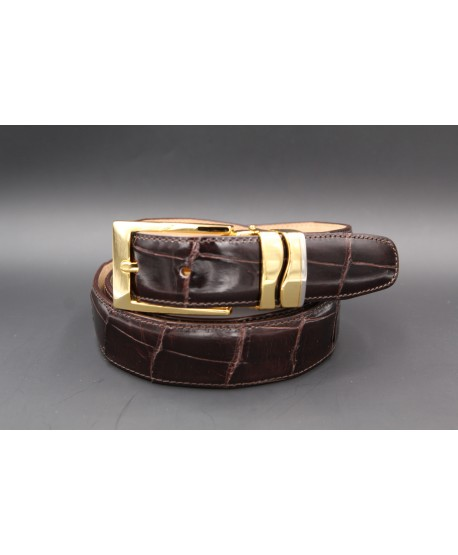 Ceinture en peau d'alligator chocolat largeur 30