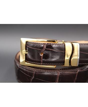 Chocolate alligator skin belt width 30 - buckle detail