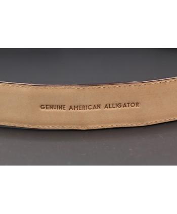 Ceinture en peau d'alligator chocolat largeur 30 - détail doublure