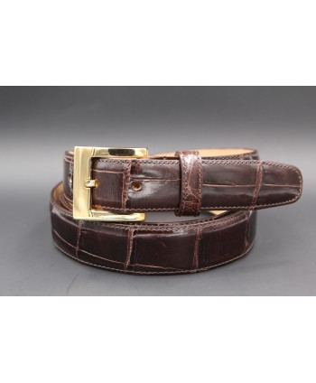 Chocolate alligator skin belt - golden buckle