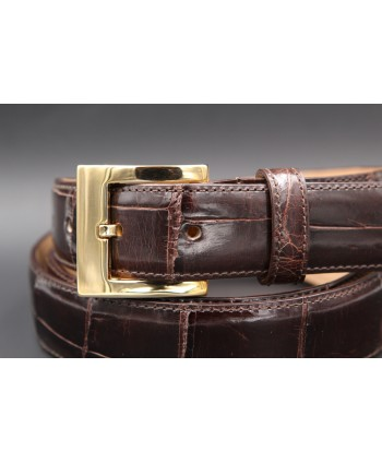 Chocolate alligator skin belt - golden buckle - buckle detail