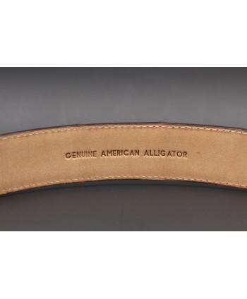 Ceinture en peau d'alligator chocolat - détail doublure
