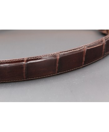 Chocolate alligator skin belt - skin detail
