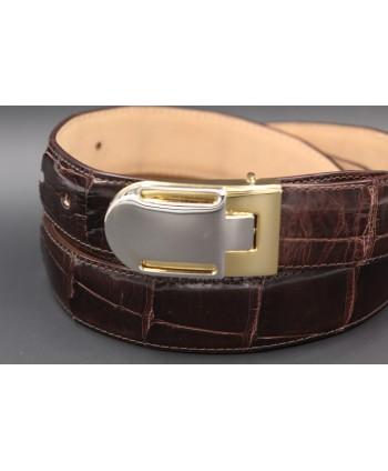 Chocolate alligator skin belt - buckle detail
