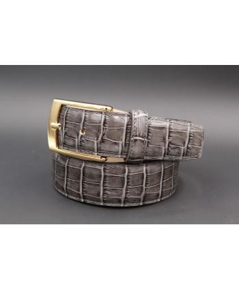 Grey crocodile-style cowhide leather belt - golden buckle