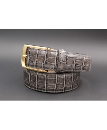 Ceinture cuir gris façon croco - boucle dorée