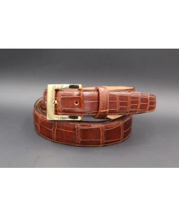 Tobacco alligator skin belt