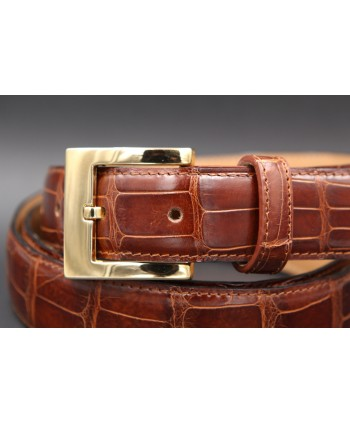 Tobacco alligator skin belt - buckle detail