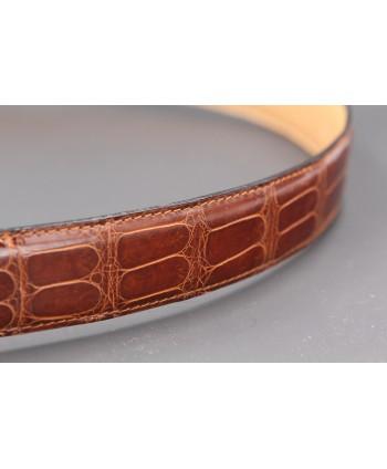 Ceinture en peau d'alligator tabac - détail peau 2