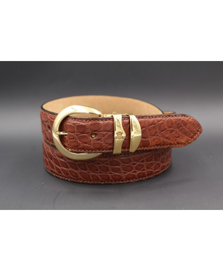 Ceinture en peau d'alligator tabac
