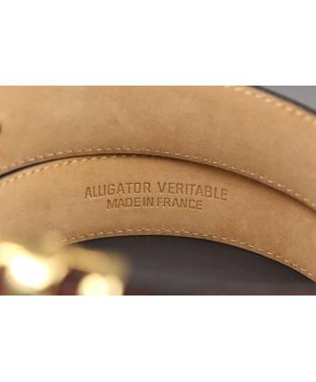 Tobacco alligator skin belt - back detail