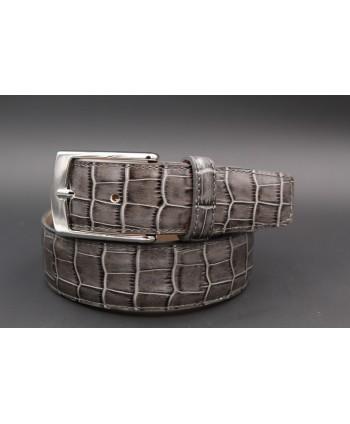 Ceinture cuir marine - imitation croco