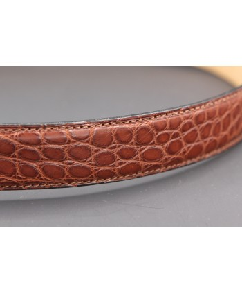 Ceinturon grande taille marron - Boucle ovale corde nickel
