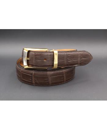 Ceinturon grande taille marron foncé - Boucle ovale corde nickel