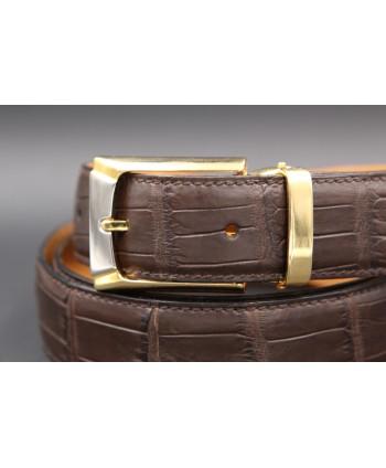 Belt in matt brown alligator skin - buckle detail