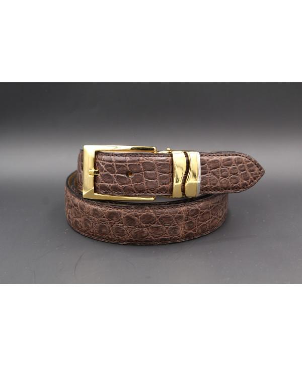 Ceinture en peau d'alligator marron mat