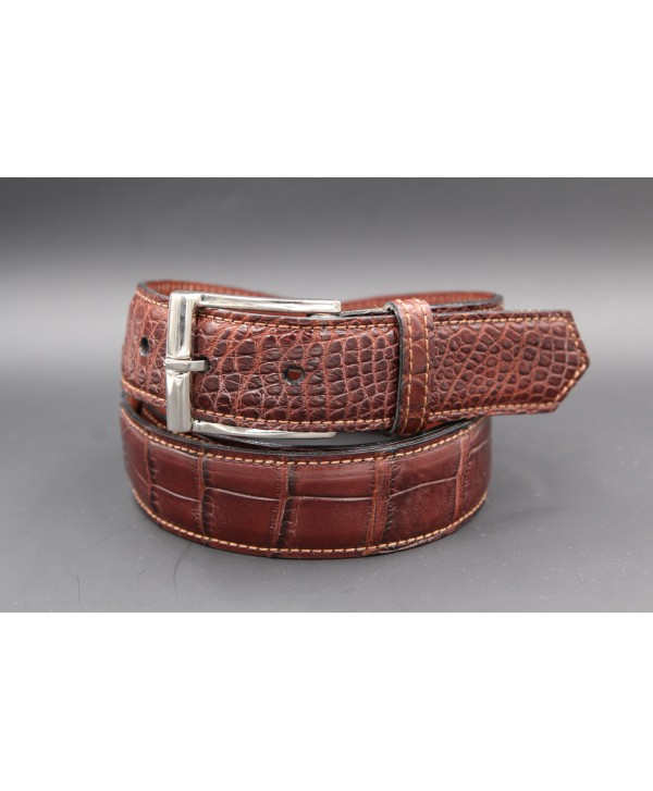 Brown alligator skin belt