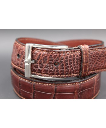 Brown alligator skin belt - buckle detail