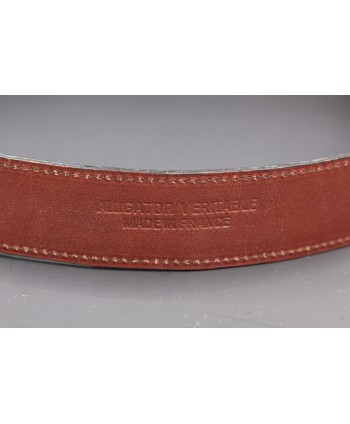 Brown alligator skin belt - back detail