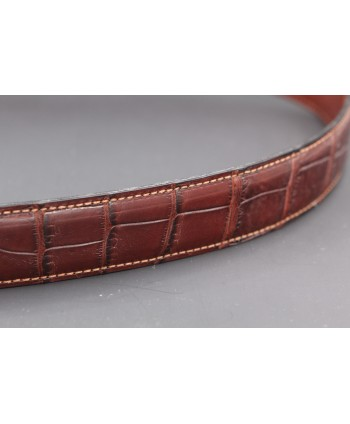 Brown alligator skin belt - skin detail