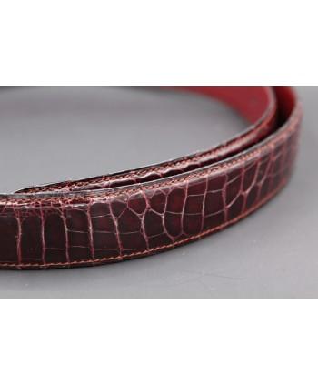 Ceinture en peau d'alligator prune - détail peau